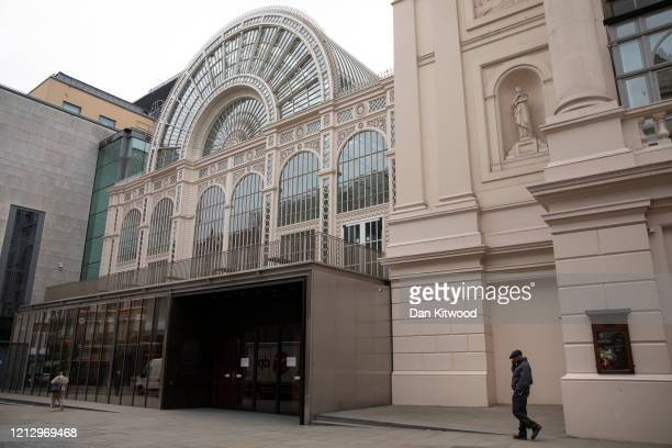 The Royal Opera House which has temporarily closed on March 17, 2020 in London, England. Boris Johnson held the first of his public daily briefing on...
