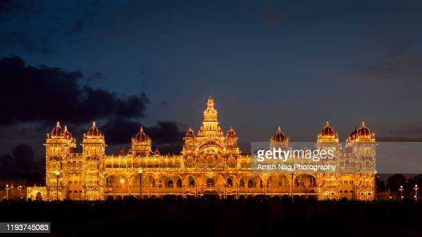 the royal palace at mysore - bangalore stock pictures, royalty-free photos & images