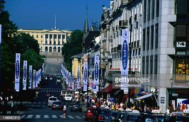 the royal palace at the end of karl johan street - royal palace oslo stock pictures, royalty-free photos & images