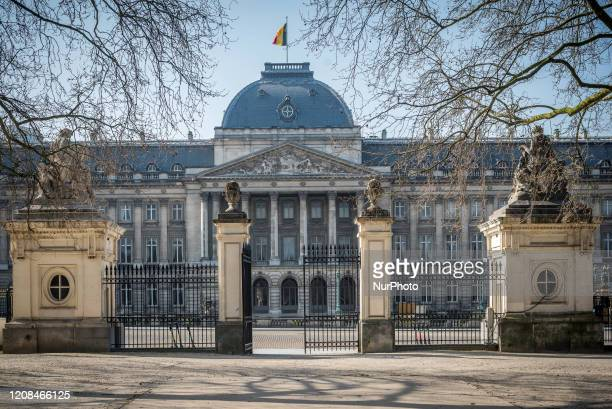 The Royal Palace of Brussels with empty streets after the conference following a National Security Council meeting on coronavirus in Brussels,...