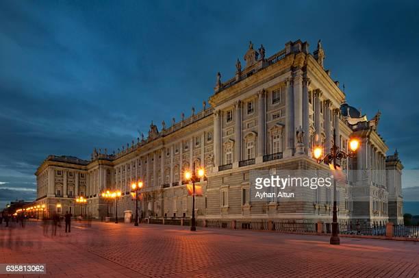 The Royal Palace of Madrid at night,Madrid,Spain