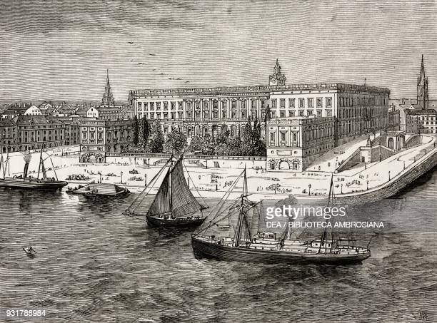 The Royal Palace, Stockholm, Sweden, illustration from the magazine The Graphic, volume XXV, no 654, June 10, 1882.