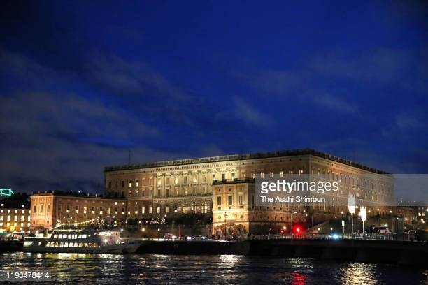 The Royal Palace where the banquet hosted by King Carl XVI Gustaf of Sweden is held is seen on December 11 2019 in Stockholm Sweden