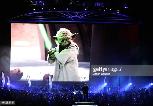 The Royal Philharmonic Orchestra conducted by John Williams performs at Star Wars in Concert at the Sprint Center on December 9, 2009 in Kansas City,...