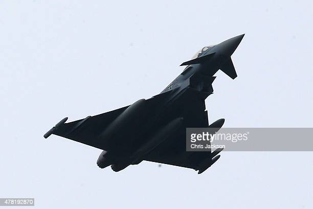 The Royal Plane carrying Queen Elizabeth II and Prince Philip Duke of Edinburgh is escorted by two Eurofighter aircraft as they arrive at Tegel...