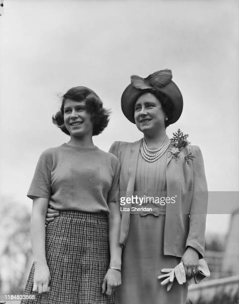 The Royal Princess Elizabeth with her mother Elizabeth BowesLyon at the Royal Lodge in Windsor Great Park UK April 1940