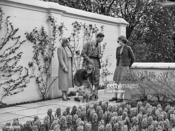 The Royal Princesses Margaret and Elizabeth with their mother Elizabeth BowesLyon and their father Albert Duke of York with their Pembroke Welsh...