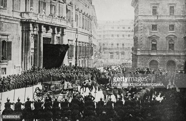 The royal procession arrives in Montecitorio for the opening ceremony of the 25th government, December 1 1919, Rome, Italy, from the magazine...