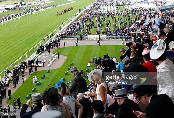 The Royal Procession arriving by carriage as seen from the Royal Enclosure Level 4 on day 1 of Royal Ascot at Ascot Racecourse on June 14 2016 in...