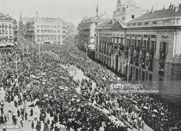 The Royal Procession at Puerta del Sol during the festivities for the coronation of Alfonso XIII , Madrid, Spain, photo by Chusseau-Flaviens, from...