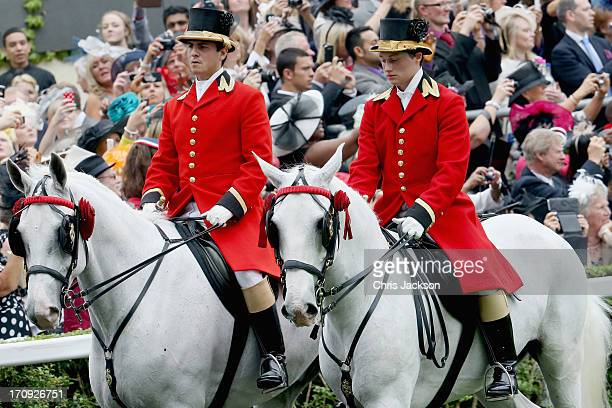 The Royal Procession during Ladies' Day on day three of Royal Ascot at Ascot Racecourse on June 20 2013 in Ascot England