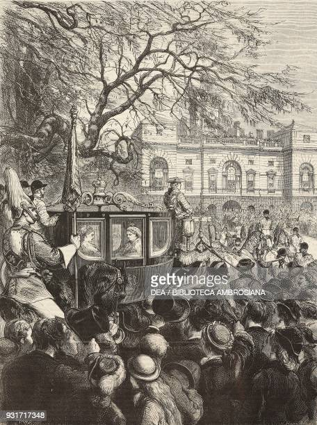 The Royal procession in St James Park the coach with Queen Victoria the opening of Parliament London United Kingdom illustration from the magazine...