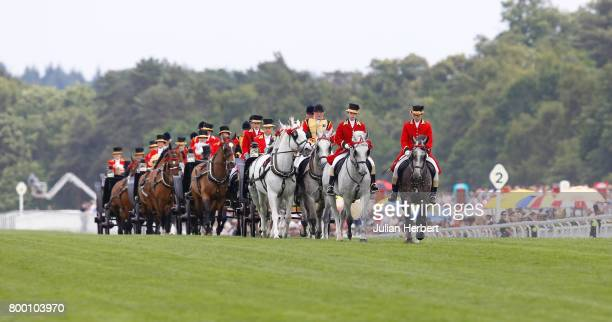 The Royal Procession makes its way done the course on Day Four of Royal Ascot at Ascot Racecourse on June 23 2017 in Ascot England