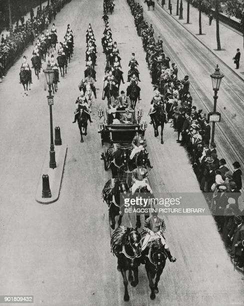 The royal procession returning from the Guildhall Italian royal visit to London United Kingdom from L'Illustrazione Italiana Year LI No 23 June 8 1924