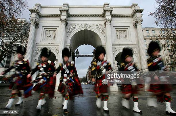 The Royal Scots Dragoon Guards Pipe Band parade at Marble Arch on December 5 2007 in London The pipers are celebrating their success after their...