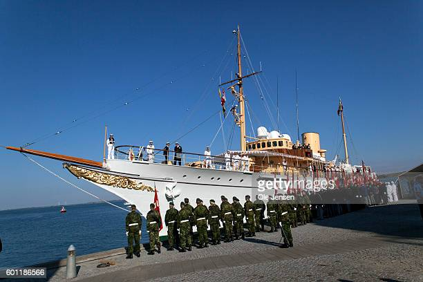 The Royal ship, Dannebrog, arrives to Rudkoebing at the Island of Langeland where Queen Margrethe begins a two days visit in Denmark on September 08,...