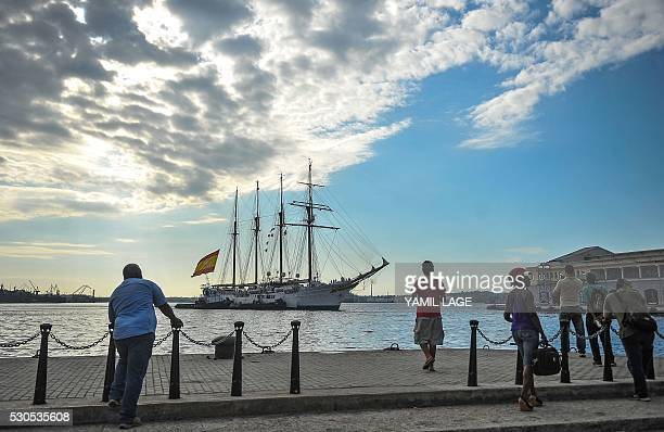 The Royal Spanish Navy's training ship Juan Sebastian Elcano arrives to Havana harbor on May 11 2016 The fourmasted topsail ship is touring several...