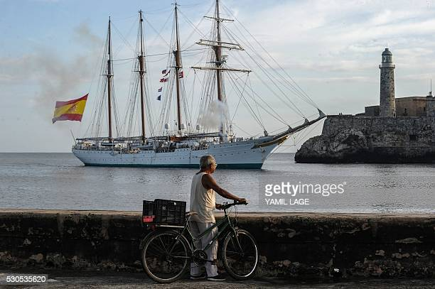 The Royal Spanish Navy's training ship Juan Sebastian Elcano arrives to Havana harbor on May 11 2016 The fourmasted topsail ship is touring several...