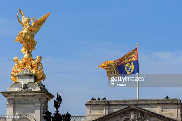 The Royal Standard flag flies over the Buckingham Palace during the celebration of the Queen's birthday called Trooping The Colour on June 9 2018 in...