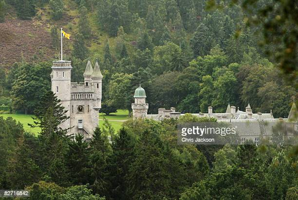 The Royal Standard flys from the turrets of Balmoral Castle on September 7 2008 in Ballater Scotland The flag only flys when the Queen is in...
