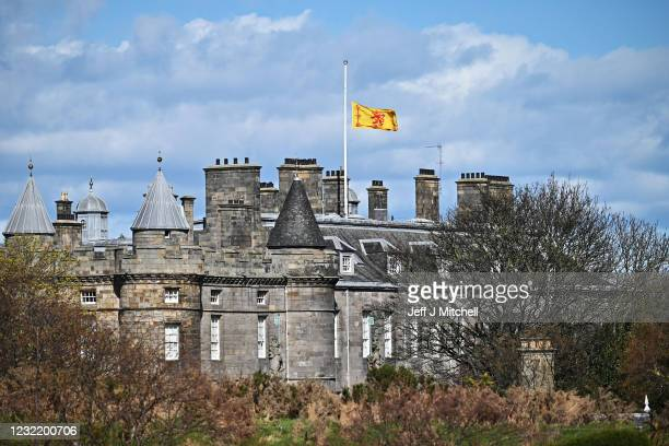 The Royal Standard of Scotland flag, flies at half mast to mark the death of the Duke Of Edinburgh at the Palace of Holyroodhouse on April 09, 2021...