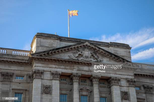 The Royal Standard of the United Kingdom flag is seen at Buckingham Palace in London, United Kingdom on 11 December, 2019.