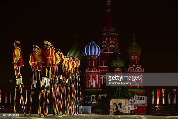 The Royal stiltwalkers of Belgium perform during dress rehearsal of the Spasskaya Tower International Military Orchestra Music Festival opening...