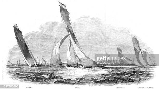 The Royal Thames Yacht Club - Sailing Match - Mystery, Gnome, Phantom, Enigma, Gazelle, from a sketch by Mr. Condy, RW. Y. C. 1844. Yachting on the...