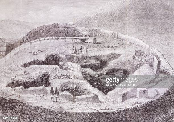The royal tombs and the Agora' by Heinrich Schliemann engraving from the book Mycenae 1878 Greece 19th Century Venice Biblioteca Nazionale Marciana