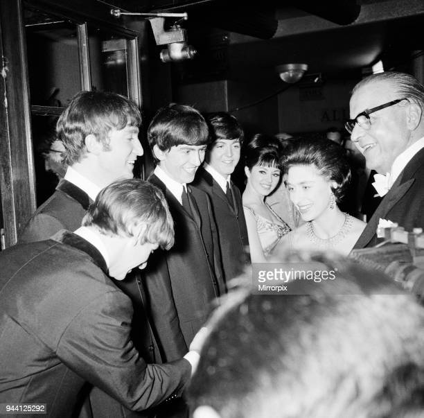The Royal Variety Performance 4th November 1963 Princess Margaret is introduced to The Beatles Ringo Starr shakes the Princess's hand Picture taken...