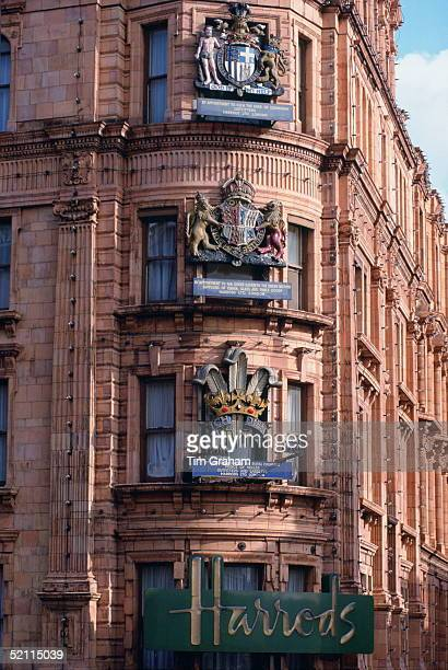 The Royal Warrants On The Corner Of Harrods Circa 1980s. The Shop Has Warrants From Prince Philip, Queen Elizabeth The Queen Mother And Prince...