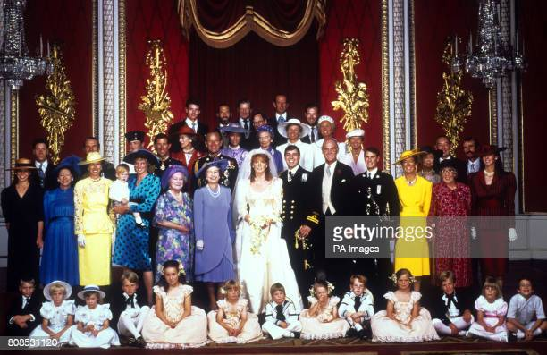 The Royal Wedding group at Buckingham Palace after the marriage of the Duke and Duchess of York Front row The Earl of Ulster Lady Davina Windsor Lady...
