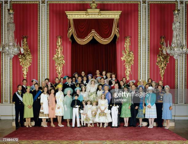 The Royal Wedding Group in the Throne Room at Buckingham Palace on 29th July 1981 with the bride and groom TRH The Prince and The Princess of Wales...