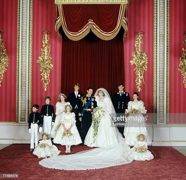 The Royal Wedding Group in the Throne Room at Buckingham Palace on 29th July 1981 with the bride and bridegroom, TRH The Prince and The Princess of...