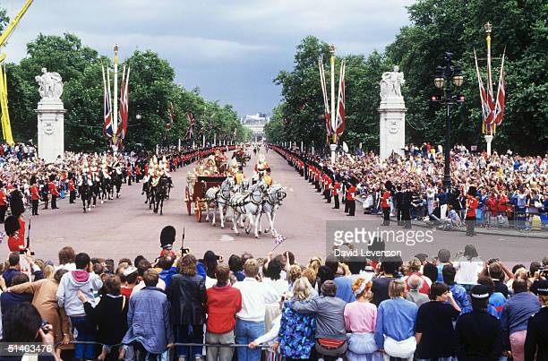 The Royal Wedding of Prince Andrew and Sarah Duchess of York on July 23 1986 in LondonThe Royal couple returning down The Mall from St Pauls...