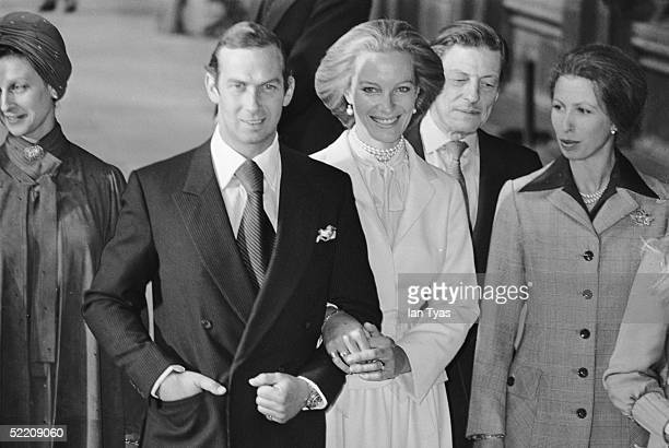 The royal wedding of Prince Michael of Kent and Baroness Christine von Reibnitz at the Town Hall in Vienna 3rd July 1978 Guests from left to right...