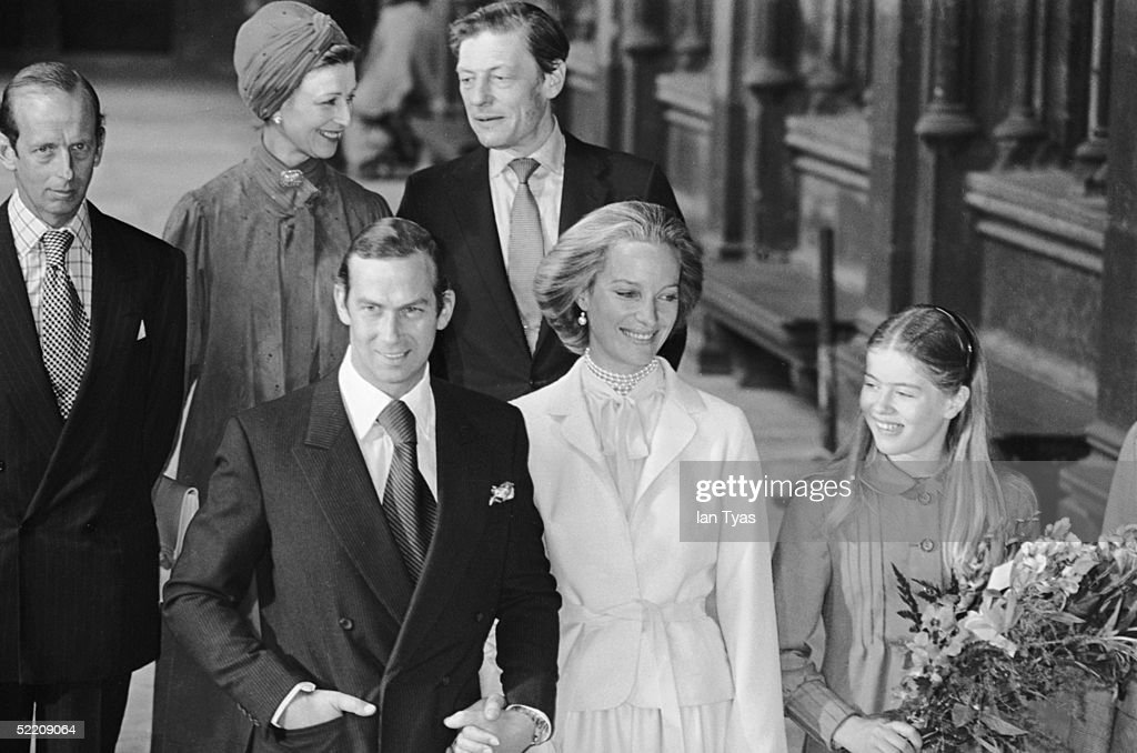The royal wedding of Prince Michael of Kent and Baroness Christine von Reibnitz at the Town Hall in Vienna, 3rd July 1978. Guests, from left to right, The Duke of Kent, Princess Alexandra, her husband Angus Ogilvy and Lady Helen Windsor the daughter of the Duke and Duchess of Kent.