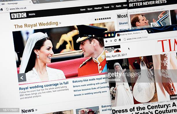 the royal wedding on bbc.com, time.com and cnn.com web pages - catherine duchess of cambridge photos stock pictures, royalty-free photos & images