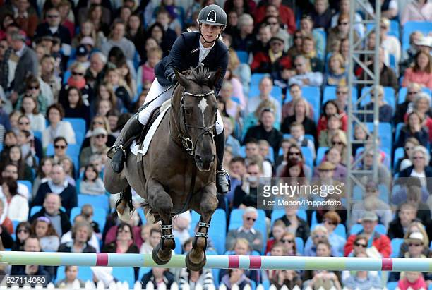 The Royal Windsor Horse Show Windsor Great Park UK The Alltech Royal Windsor GP show jumping Louise Pavitt riding Don VHP on her way to wiining the...