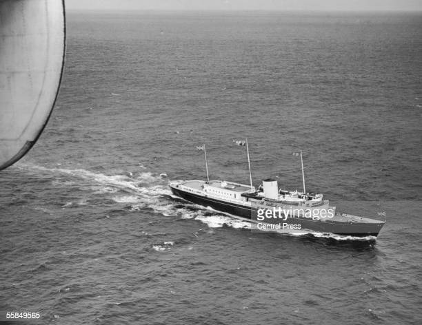 The royal yacht Britannia as seen from its aerial escort in the Bay of Biscay 13th May 1954 She is transporting Queen Elizabeth Prince Philip Prince...