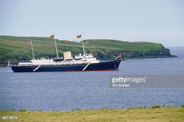 The Royal Yacht Britannia At Rest Off The Coast Of Scotland During The Royals Holiday Tour Of The Western Isles.circa 1990s