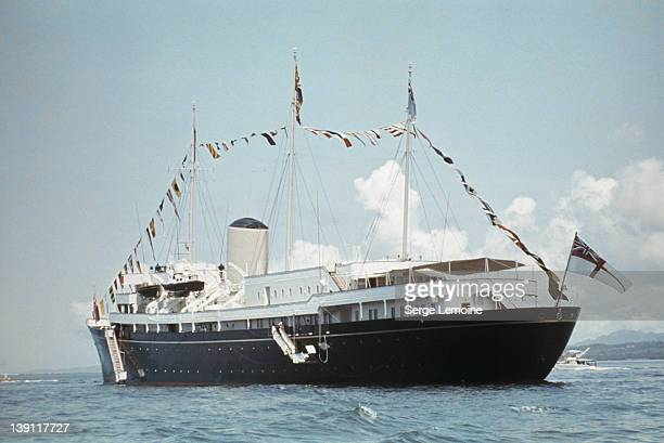 The Royal Yacht 'Britannia' during Queen Elizabeth II 's visit to Tonga February 1977