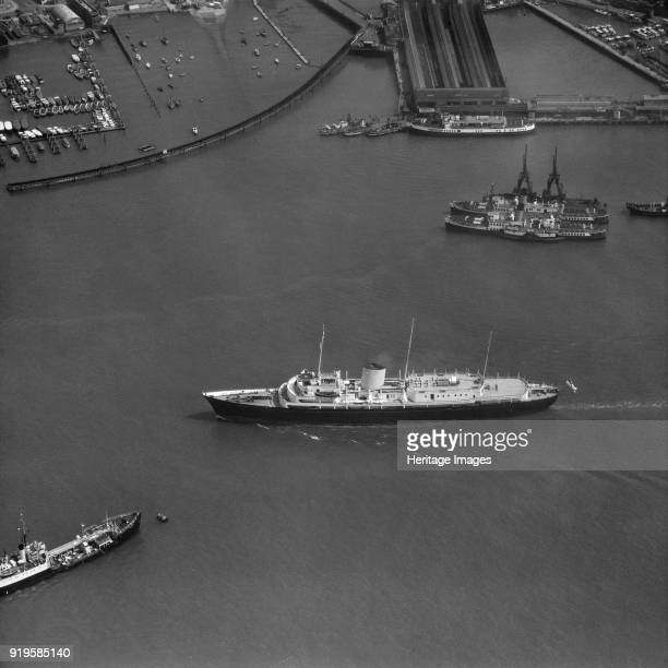 The Royal Yacht 'Britannia' in Portsmouth Harbour Hampshire 1959 Photographed for Aerofilms