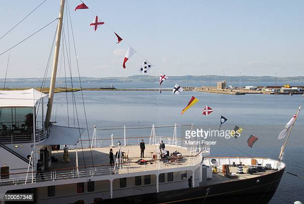 The Royal Yacht Britannia is prepared for the pre wedding party hosted by Zara Phillips and Mike Tindall on the eve of their wedding on July 29 2011...