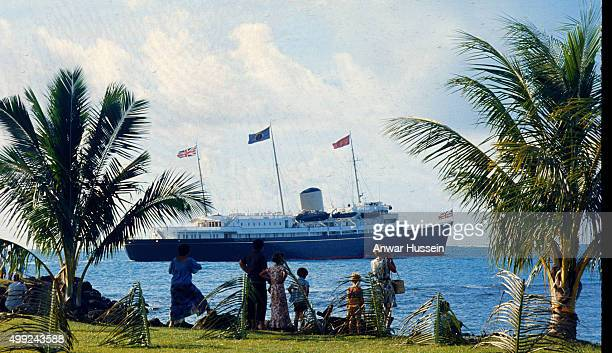 The Royal Yacht Britannia sails off the coast of Samoa during The Queen's visit on February 01 1977 in Samoa South Pacific