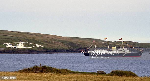 The Royal Yacht Britannia sails off the coast of Scotland during the Royal Family's Summer holiday on August 01 1985 in Scotland United Kingdom