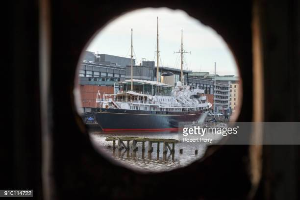 The Royal Yacht Britannia seen through the porthole of the decommissioned ship Lismore in Leith's Imperial Dry Dock on January 25 2018 in Leith...
