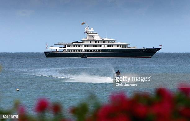 The Royal Yacht Leander is seen moored just off Cocoa Resort on the third day of a three day tour of Trinidad and Tobago on March 6 2008 in Mount...