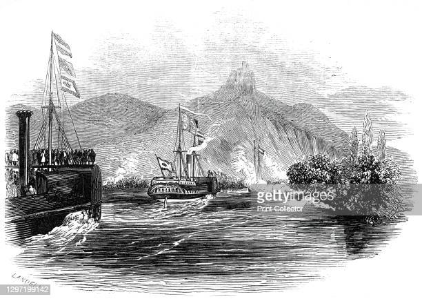 The Royal Yacht passing the Drachenfels, 1845. Queen Victoria and Prince Albert travel down the River Rhine during a royal visit to Germany. 'The...