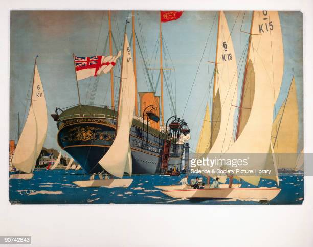 The Royal Yacht 'Victoria and Albert' surrounded by smaller yachts at Cowes Week, Isle of Wight. Trimmed poster showing artwork only. Artwork by...